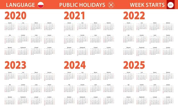 Jahreskalender 2020-2025 in polnischer sprache, woche beginnt am sonntag.
