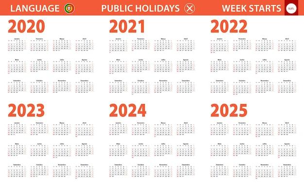 Jahreskalender 2020-2025 in portugiesischer sprache, woche beginnt am sonntag.