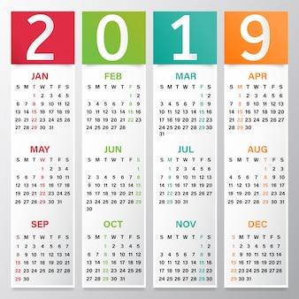 Jahreskalender oder organisatorentwurf für 2019.