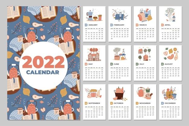 Jahresplaner für wandkalendervorlage mit gemütlichem organizer für alle monate und süßem heiminterie...