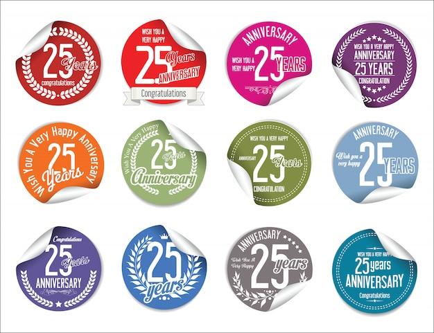 Jahrestag etiketten