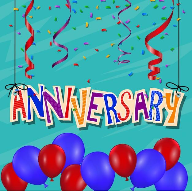 Jahrestag feier hintergrund mit konfetti und ballon