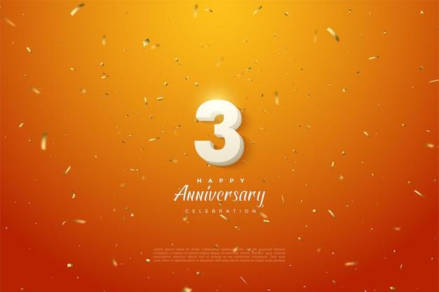 Jahrestag mit der dicken weißen zahlenillustration auf dem gold gesprenkelten orange hintergrund.
