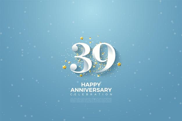 39. jahrestag mit zahlen auf blauem himmelshintergrund