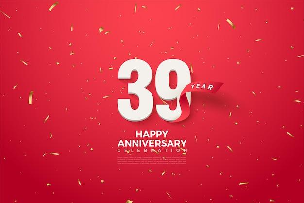 39. jahrestag mit zahlen mit roten bändern verziert