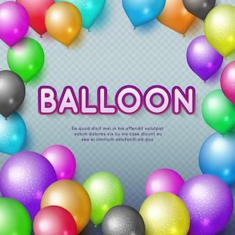 Jahrestag und alles gute zum geburtstagpartyvektorhintergrund mit bunten ballonen. bunte abbildung des geburtstagsballons