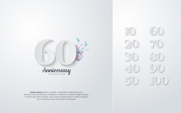 Jahrestagsdesign mit illustration von zahlen im weiß mit blumen.