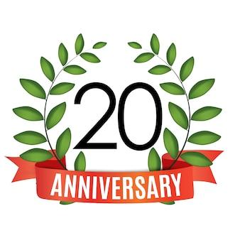 Jahrestagsvorlage mit rotem band und lorbeerkranz