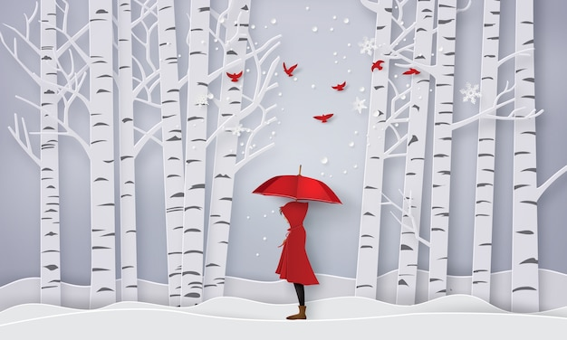 Jahreszeit mit dem offenen rot des mädchens ein regenschirm, papierkunst und handwerksart.
