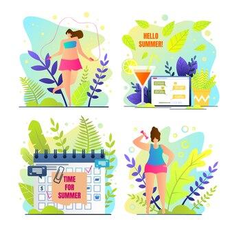 Jahreszeit-sonderkarte mit aufschrift hallo sommer