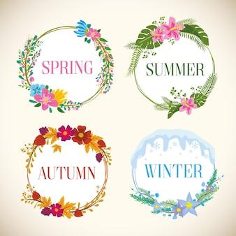 Jahreszeiten-etiketten