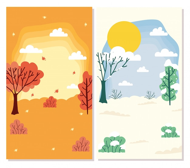 Jahreszeiten szenen wetter setzen sammlungen