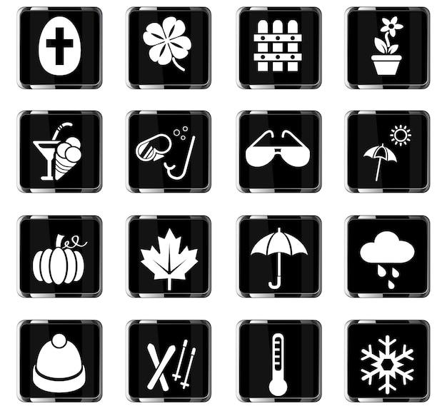 Jahreszeiten-websymbole für das design der benutzeroberfläche
