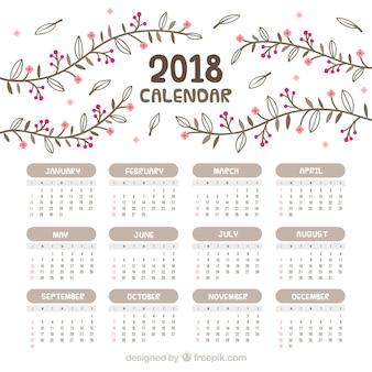 Jahrgang 2018 kalender mit hand gezeichneten blumen