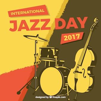Jahrgang abstrakten hintergrund mit jazz-instrumente