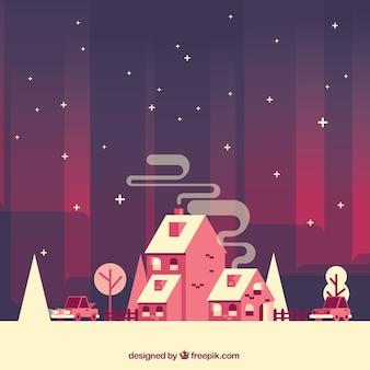 Jahrgang Hintergrund der schneebedeckten Häuser in flaches Design