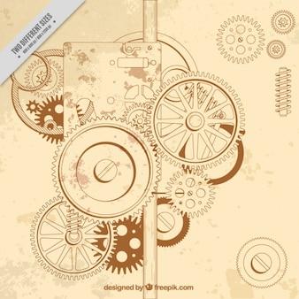 Jahrgang Hintergrund eines Getriebeanordnung