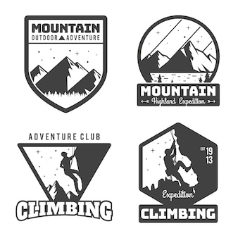 Jahrgang monotone bergsteigen logo abzeichen set