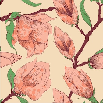 Jahrgang nahtlose muster mit magnolia blumen
