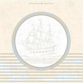 Jahrgang nautischen hintergrund mit schiff und blau details