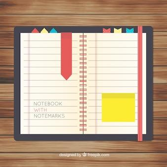 Jahrgang offene notebook mit lesezeichen