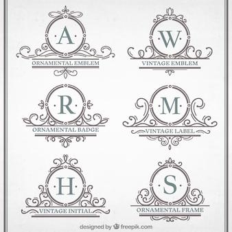 Jahrgang ornamentalen Embleme Sammlung