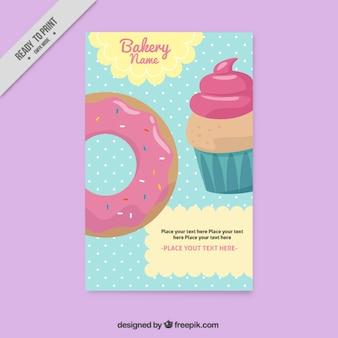 Jahrgang schöne bäckerei-flyer mit kleinen kuchen und krapfen