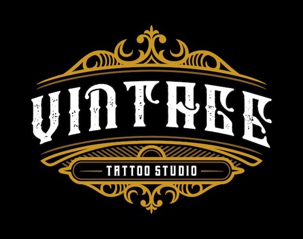 Jahrgang tattoo studio emblem