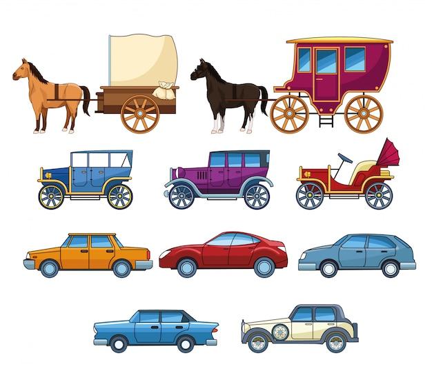 Jahrgangsklasse und moderne autos mit pferdekutschen