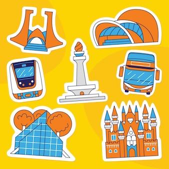Jakarta city sticker pack im flachen stil