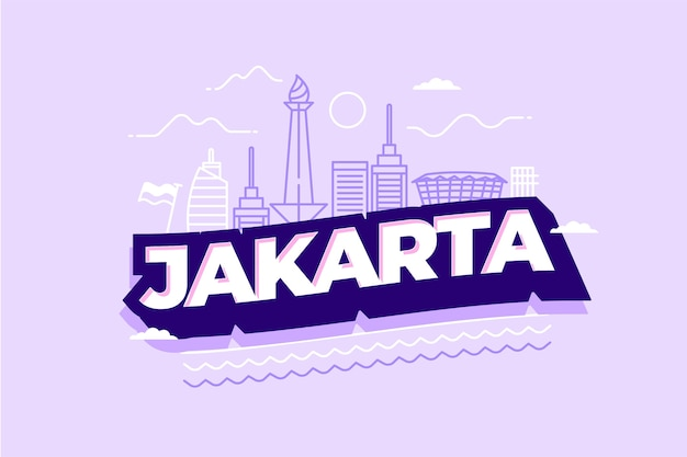Jakarta stadt schriftzug