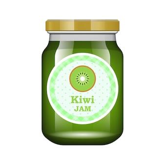 Jam kiwi. glas mit marmelade und konfigurieren. verpackungssammlung. etikett für marmelade. bank realistisch.