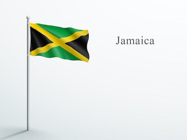 Jamaica flag 3d element, das auf stahlfahnenmast winkt