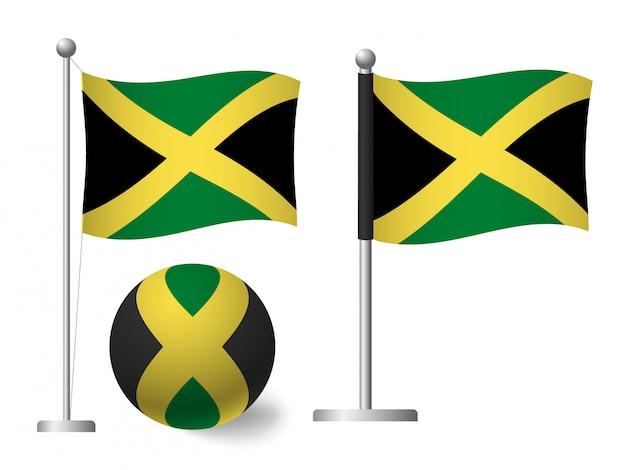 Jamaika flagge auf stange und ballikone