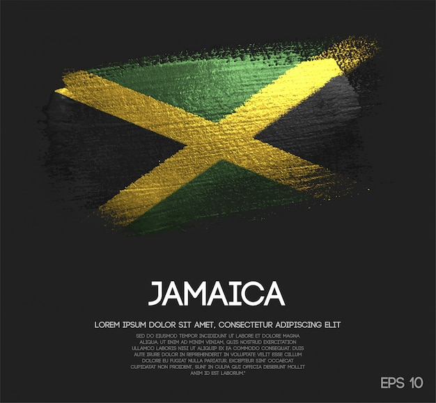 Jamaika flagge aus glitter sparkle pinsel farbe