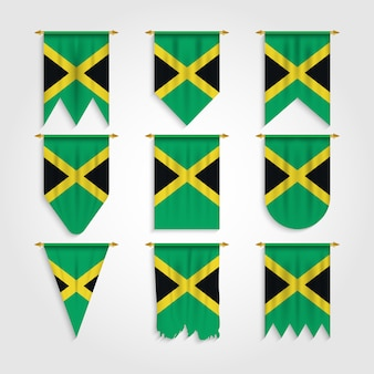 Jamaika flagge in verschiedenen formen