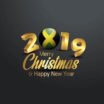 Jamaika-markierungsfahne 2019 frohe weihnacht-typografie