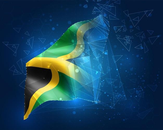 Jamaika, vektorflagge, virtuelles abstraktes 3d-objekt aus dreieckigen polygonen auf blauem hintergrund
