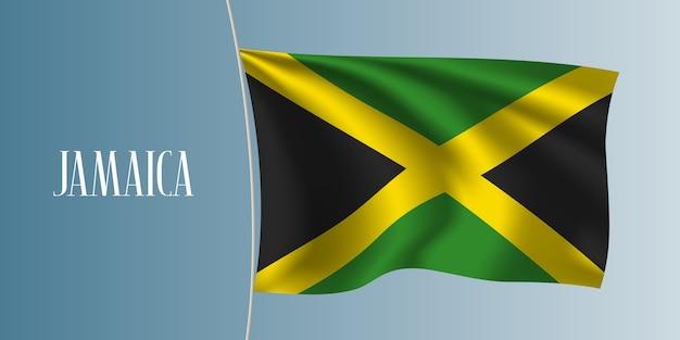 Jamaika weht flagge. kultiges gestaltungselement als jamaikanische nationalflagge