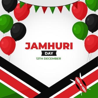 Jamhuri day flat design mit luftballons