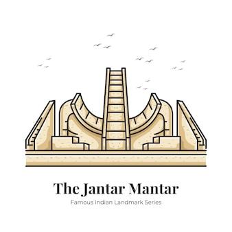 Jantar mantar indisches wahrzeichen ikonische cartoon-illustration