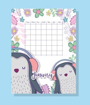 Januar-kalenderinformation mit pinguinen und pflanzen