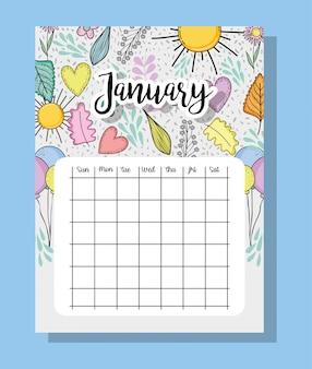 Januar-kalenderinformationen mit blumen und blättern
