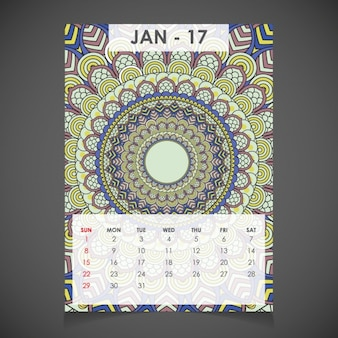 Januar ornamental kalender für 2017