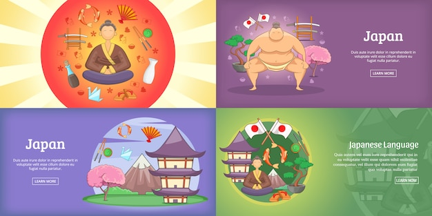 Japan-fahnensatz oder -plakat
