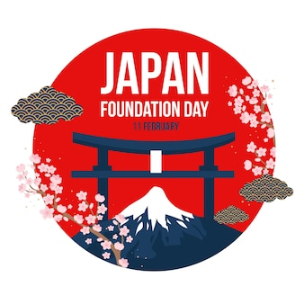 Japan foundation day flat design