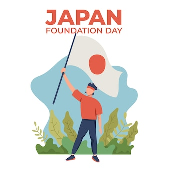 Japan foundation day illustration mit flagge