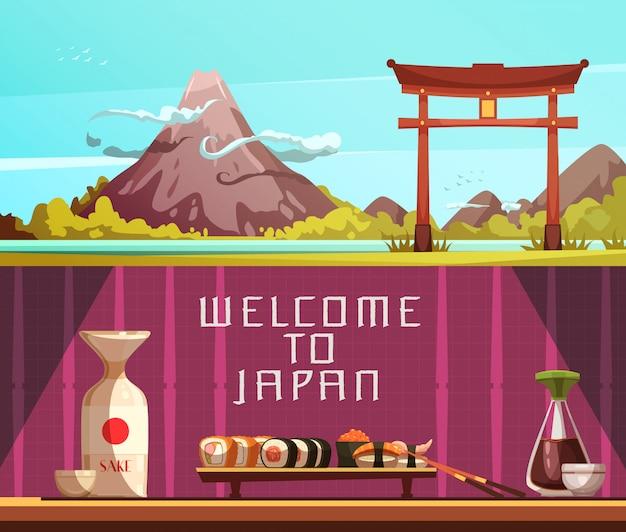 Japan für horizontale fahnen der retro- karikatur der reisenden 2 mit pagode fuji-berg und -sushi lokalisiert