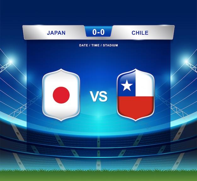 Japan gegen chile-anzeigetafel sendete fußball copa america