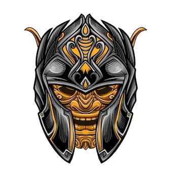 Japan golden warrior knight vector